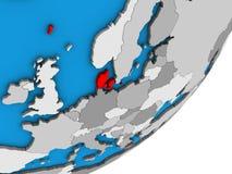Carte du Danemark sur le globe 3D illustration de vecteur