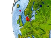 Carte du Danemark sur le modèle du globe Images libres de droits