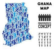 Carte du Ghana de démographie illustration stock