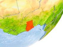 Carte du Ghana sur terre Photographie stock