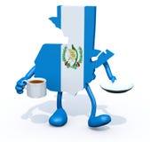 Carte du Guatemala avec la tasse de café en main Images stock