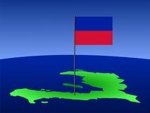 Carte du Haïti avec l'indicateur Photographie stock libre de droits