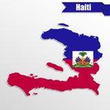 Carte du Haïti avec l'intérieur et le ruban de drapeau illustration de vecteur