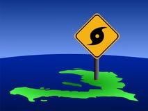 Carte du Haïti avec le signe d'ouragan Photographie stock