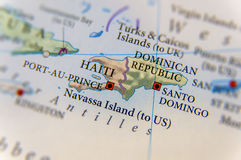 Carte du Haïti géographique et de la République Dominicaine  photos libres de droits