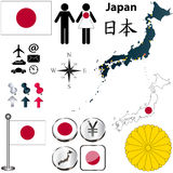 Carte du Japon Photos libres de droits
