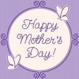 Carte du jour de mère de cadre de griffonnage de papillon Images libres de droits