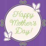 Carte du jour de mère de cadre de griffonnage de papillon Image stock