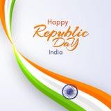 Carte du jour heureux de République dans le calibre de l'Inde avec le texte et ruban onduleux de couleurs de la conception nation illustration libre de droits