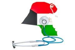 Carte du Kowéit avec le stéthoscope, concept national de soins de santé, 3D au sujet de Images stock