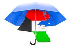 Carte du Kowéit sous le parapluie La sécurité et se protègent ou l'escroquerie d'assurance Image libre de droits