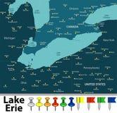 Carte du lac Érié Photo stock