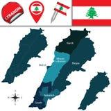 Carte du Liban Photographie stock libre de droits