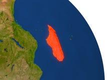 Carte du Madagascar en rouge illustration de vecteur
