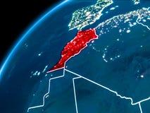 Carte du Maroc la nuit Photographie stock