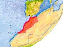 Carte du Maroc sur terre Photo stock