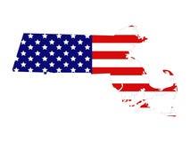 Carte du Massachusetts avec le drapeau des Etats-Unis - Commonwealth du Massachusetts illustration libre de droits