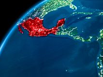Carte du Mexique la nuit Images libres de droits