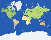Carte du monde avec des animaux Illustration Stock