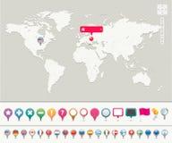 Carte du monde avec des broches Images libres de droits
