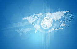 Carte du monde avec des cercles, des graphiques et le réseau de lueur Photos stock