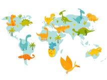 Carte du monde avec des dinos mignons de bande dessinée Illustration lumineuse de vecteur illustration de vecteur
