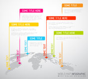 Carte du monde avec des marques d'indicateur (drapeaux) Photo stock