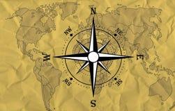 Carte du monde avec le compas Image libre de droits