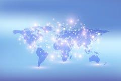 Carte du monde avec le concept global de mise en réseau de technologie Visualisation de données numériques Raye le plexus Grand f illustration libre de droits