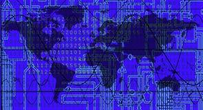 Carte du monde avec le fond électronique : Vecteur Photo libre de droits