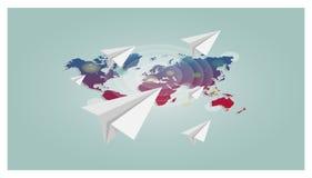 Carte du monde avec le fond de papier de vecteur d'avions Style à la mode pour la conception graphique, site Web, media social, i Photo stock
