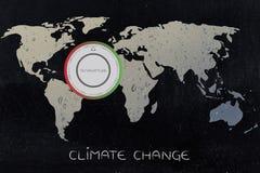 Carte du monde avec le thermostat, le réchauffement global et le changement climatique illustration libre de droits
