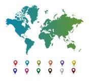 Carte du monde avec les marques colorées d'indicateur Images stock