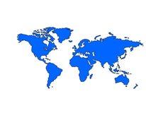 Carte du monde (bleue) Image stock