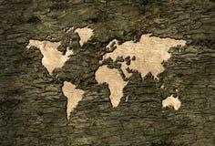 Carte du monde découpée dans l'écorce d'arbre Image stock