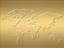 Carte du monde d'or illustration stock