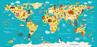 Carte du monde d'animaux illustration stock
