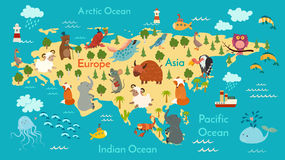 Carte du monde d'animaux, l'Eurasie illustration stock