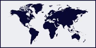 Carte du monde d'illustration de vecteur Carte du monde sur le fond bleu noir Couches groupées pour l'illustration de édition fac illustration stock