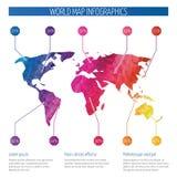 Carte du monde d'origami, infographics polygonal de vecteur de la terre illustration stock