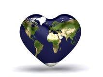 Carte du monde de coeur Photo libre de droits
