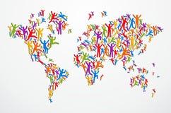 Carte du monde de concept de gens de Diverstiy illustration stock