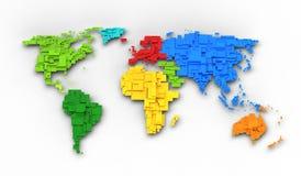 Carte du monde de couleurs d'arc-en-ciel Photographie stock libre de droits
