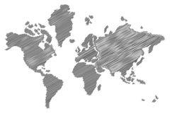 Carte du monde de croquis illustration stock