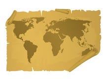 Carte du monde de cru Photographie stock libre de droits