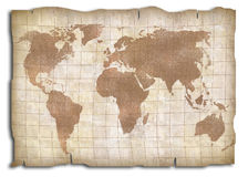Carte du monde de cru Photo libre de droits