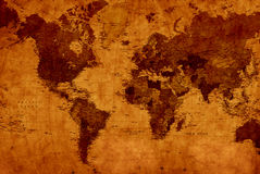 Carte du monde de cru Image libre de droits