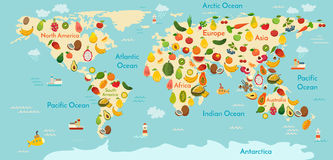 Carte du monde de fruit illustration stock