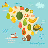 Carte du monde de fruit, Afrique Photographie stock