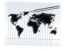 Carte du monde de griffonnage Images libres de droits